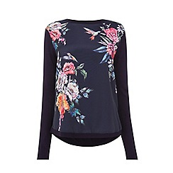 Oasis - Navy Illustrator woven front knit top