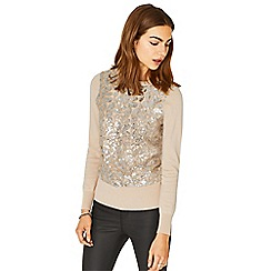 Oasis - Nude sequin mesh front knit
