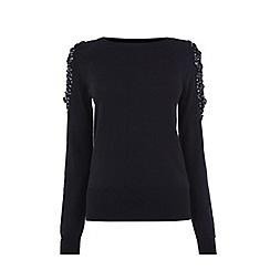 Oasis - Black embellished cold shoulder top