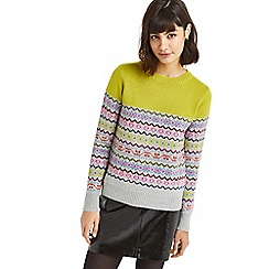 Oasis - Multi bright green 'Fair Isle' knit