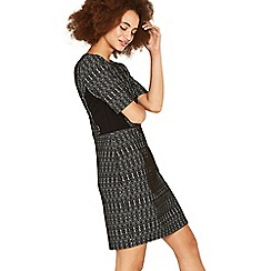 Oasis - Multi black geo textured shift dress