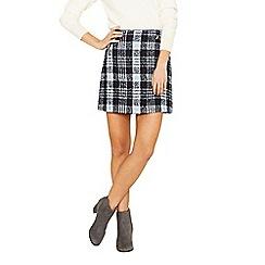 Oasis - Navy boucle zip detail skirt