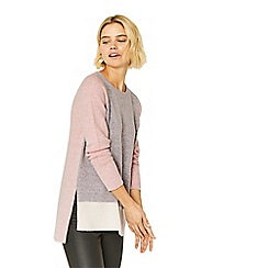 Oasis - Grey and pink long length colourblock perfect crew knit jumper