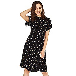 Oasis - Black daisy print long length frill tea dress