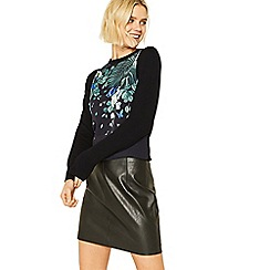 Oasis - Multi black greenhouse print woven front knit jumper