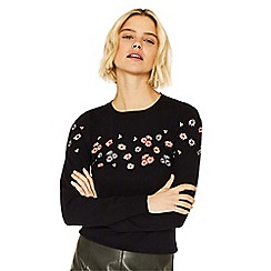 Oasis - Black buttercup print embroidery knit jumper