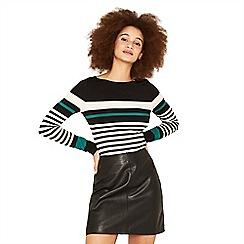 Oasis - Multi stripe 'Duffy' long sleeve boatneck top