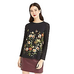 Oasis - Black 'Rossetti' print cosy top