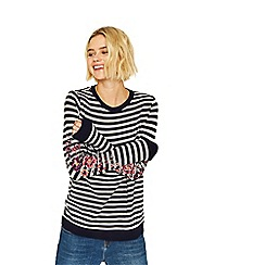 Oasis - Navy and grey stripe embroidered sweat