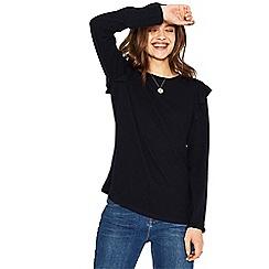 Oasis - Navy ruffle shoulder cosy top