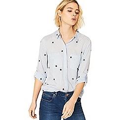 Oasis - Multi blue ticking stripe star shirt