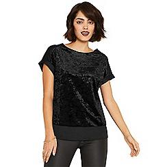 Oasis - Black crushed velvet roll sleeve t-shirt