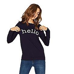 Oasis - Navy 'hello' sweatshirt