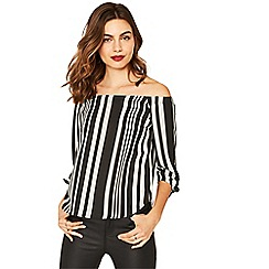 Oasis - Multi black bardot stripe top