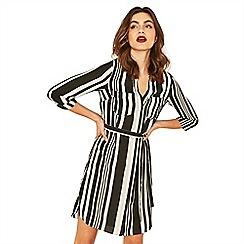 Oasis - Black and white stripe shirt dress