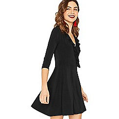 Oasis - Black plain ruffle wrap dress