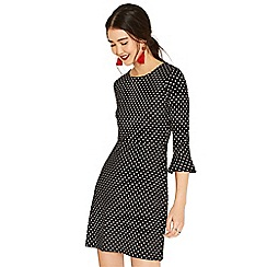 Oasis - Black and white spot ponte dress