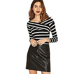 Oasis - Black and white stripe wrap long sleeve bardot top