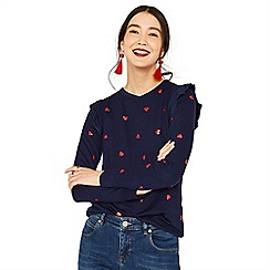 Oasis - Navy and red heart ruffle sweat