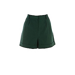 Warehouse - Dark green high waist linen shorts