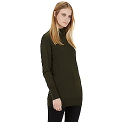 Warehouse - Button cuff roll neck jumper
