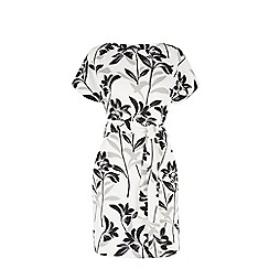Warehouse - Mono floral belted dress