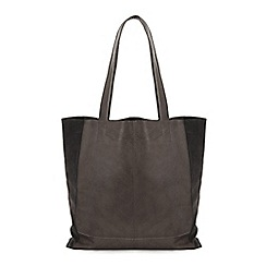 Warehouse - Unlined suede panel shopper