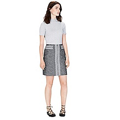 Warehouse - Textured zip front skirt