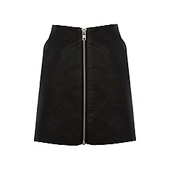 Warehouse - Zip front faux leather skirt