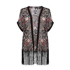 Warehouse - Printed fringed kimono