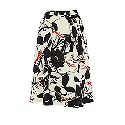 Warehouse - Abstract poppy midi skirt