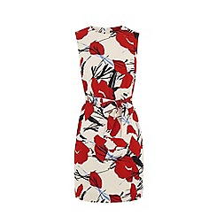 Warehouse - Abstract poppy belted dress