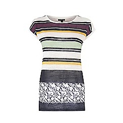 Warehouse - Stripe and floral linen look tee