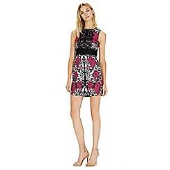 Warehouse - Printed lace panel shift dress