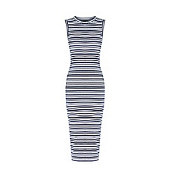 Warehouse - Stripe ribbed midi dress