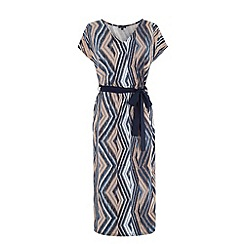 Warehouse - Aztec belted midi dress