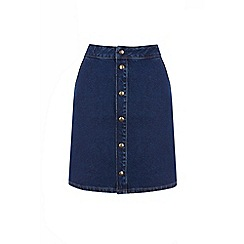 Warehouse - Popper front denim skirt