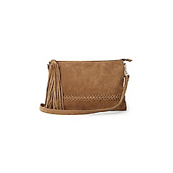Warehouse - Suede plaited cross-body bag