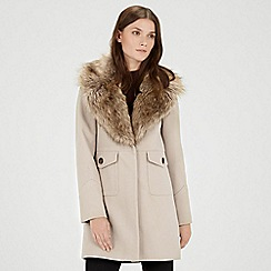 Warehouse - Extreme faux fur collar coat