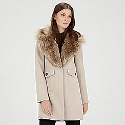 Warehouse - Extreme faux fur collar coat