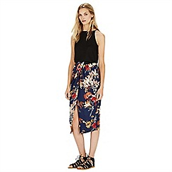 Warehouse - Summer floral wrap skirt