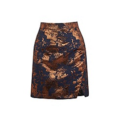 Warehouse - Wrap front jacquard skirt