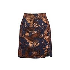 Warehouse - Wrap front jacquard skirt