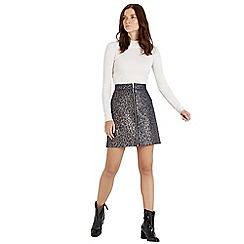 Warehouse - Animal zip front skirt