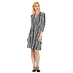 Warehouse - Stripe wrap 3/4 sleeve dress