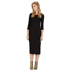 Warehouse - 3/4 sleeve ribbed midi dress