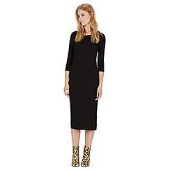 Warehouse - 3/4 sleeve ribbed midi dress