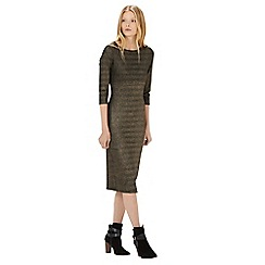 Warehouse - Metallic ribbed bodycon dress