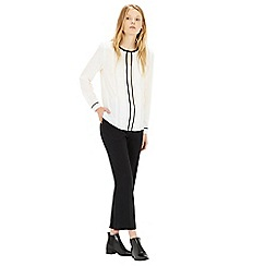 Warehouse - Contrast trim pintuck blouse