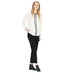 Warehouse - Contrast trim pintuck blouse